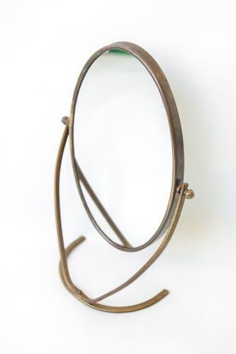 Vintage mirror, brass and metal psyche mirror 18x27cm