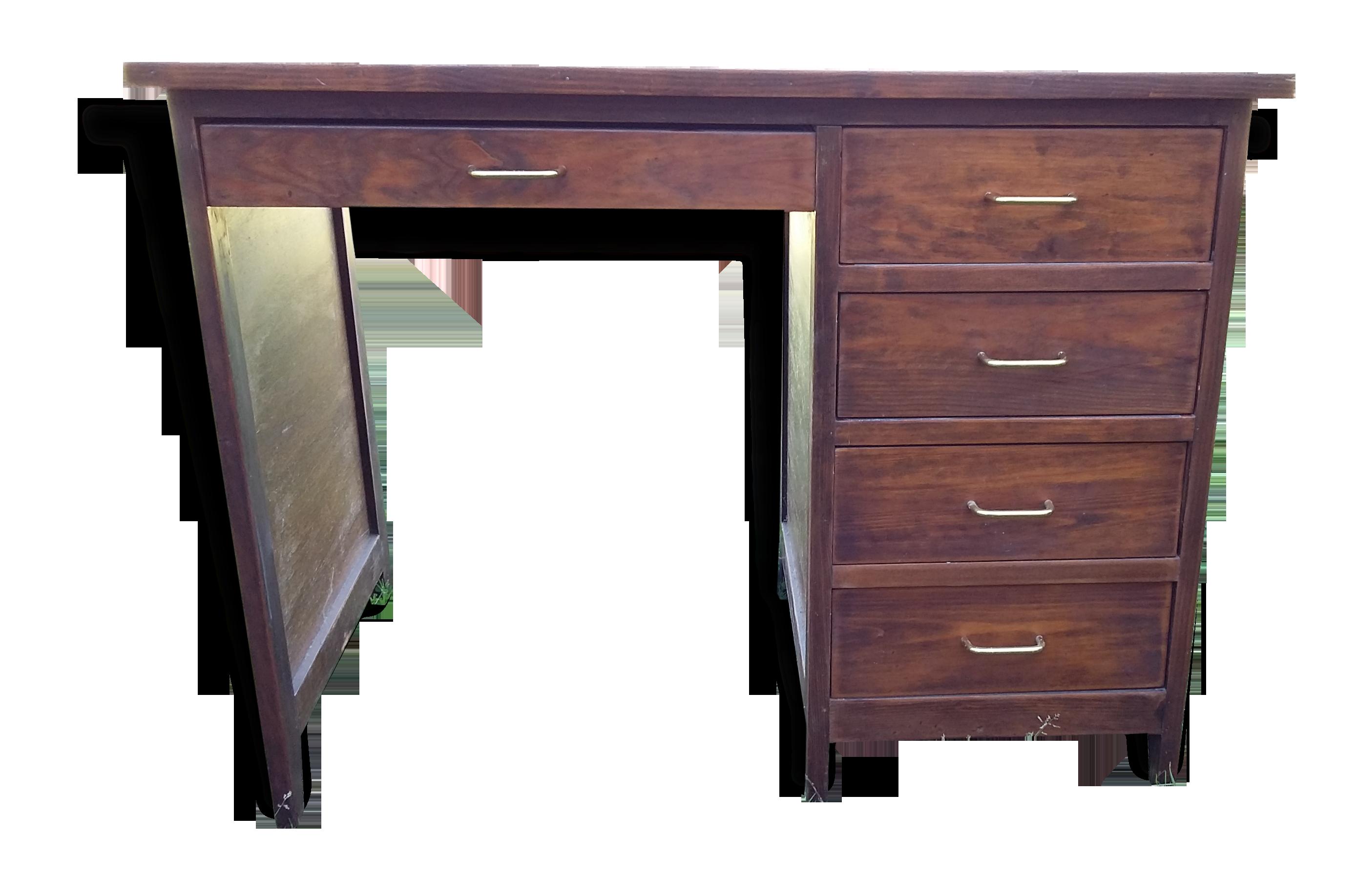Petit bureau ancien en bois bois matériau marron classique