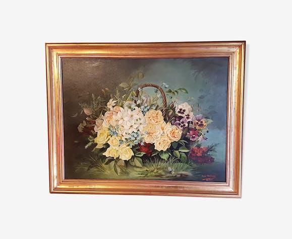 Tableau ancien peinture au bouquet de fleurs
