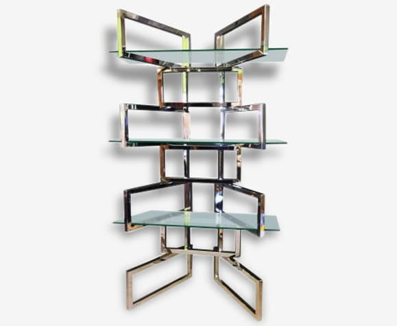 biblioth que en chrome verre italie 1970 m tal argent couleur design 94169. Black Bedroom Furniture Sets. Home Design Ideas