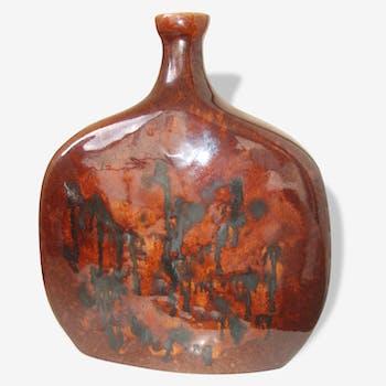 Grande céramique années 50 moderniste marron brillant