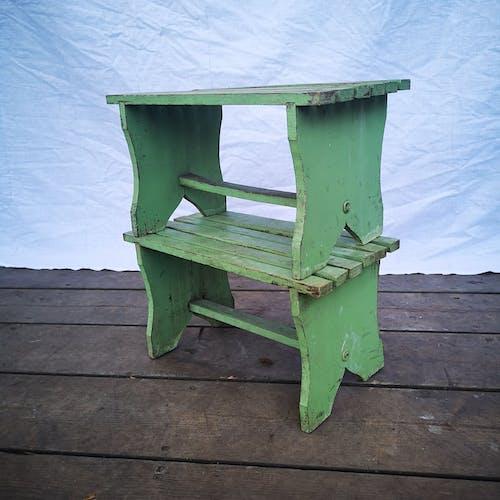 Ancienne paire de repose pied en bois vert