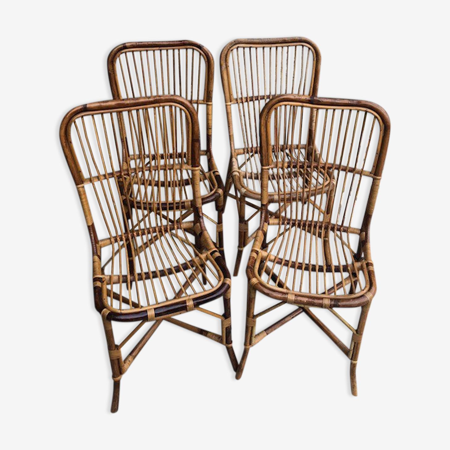 Lot de 4 chaises en rotin