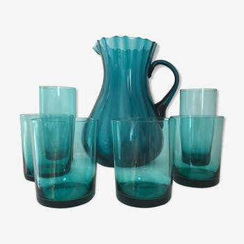 Orangeade  serving pitcher and 6 glasses 60