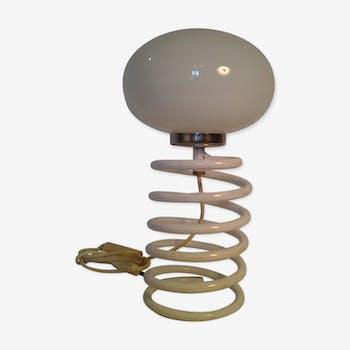 Lampe ressort spirale vintage blanche années 70