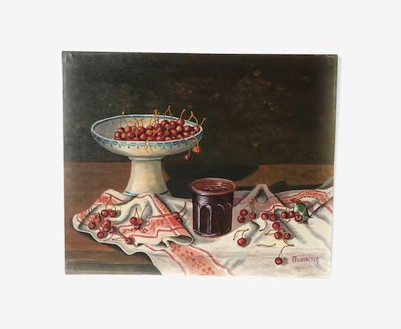 Oil on canvas still life cherries