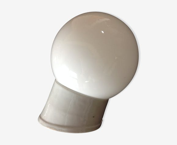 Vintage globe wall lamp in white opaline with white ceramic base