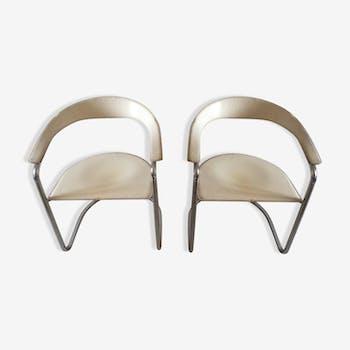 Pair of chairs signed Arrben Italian design canasta