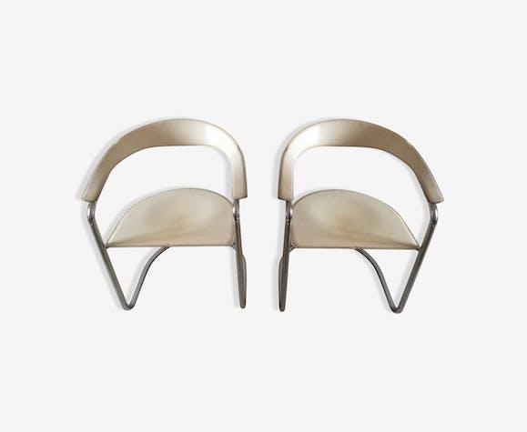 Paire De Chaises Signees Arrben Canasta Design Italien Cuir