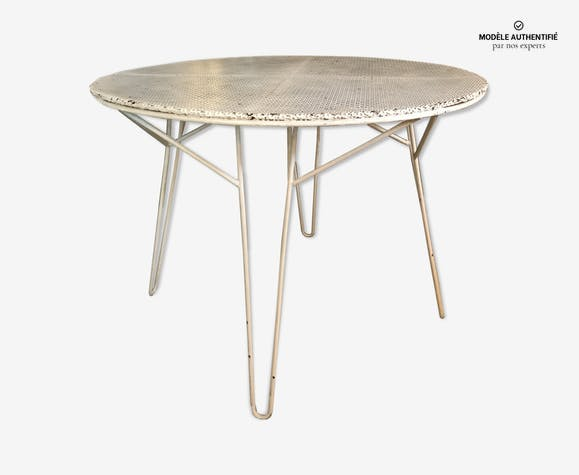 Table de jardin Mathieu Mategot - fer - blanc - design - qo4TtkP