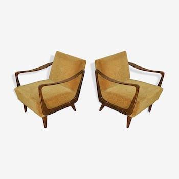 Paire de fauteuils des années 50-60 Boomerang design scandinave
