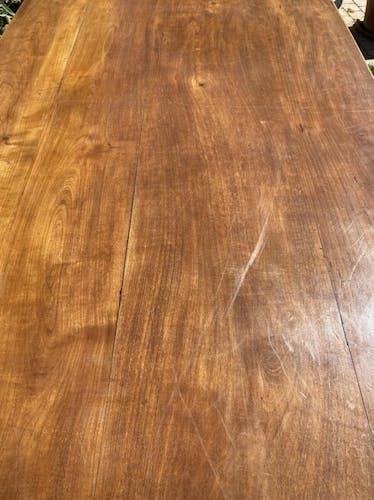 Table de ferme en merisier avec allonges style Louis XV