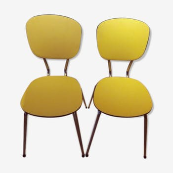 Chair coated canvas vintage yellow