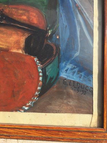 Peinture à la gouache sur papier violon 1958