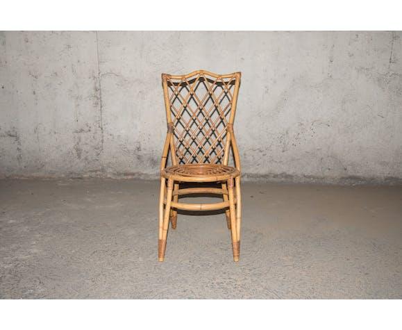 Chaise enfant bambou & rotin 60's