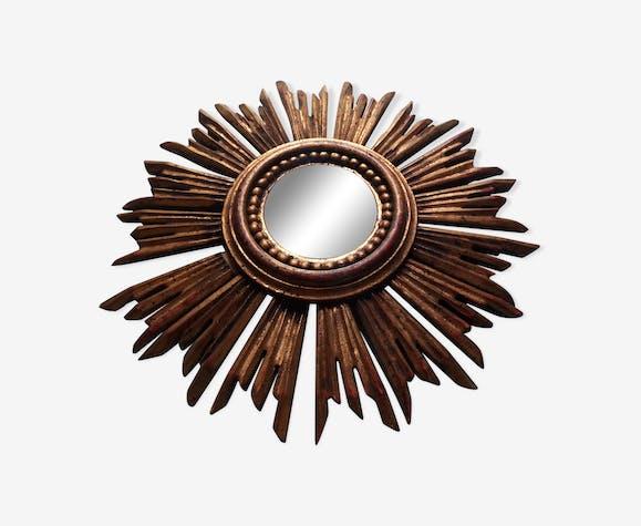 Miroir soleil sorcière bois doré, années 1950 - 33x33cm