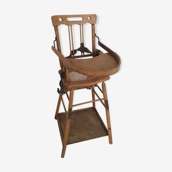 Chaise haute en cannage état bois ancienne