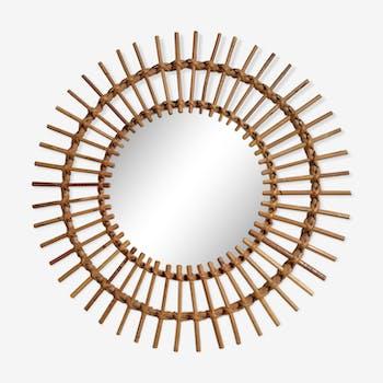 Miroir soleil en rotin, diamètre 58cm