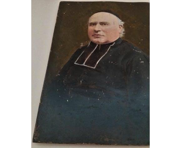Huile sur bois portrait abbé curé XIXème