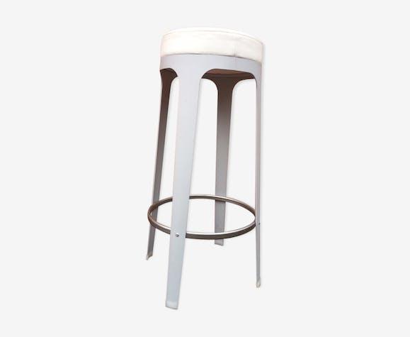 Leonardo Rossano metal and leather stool for Lapalma, Italy