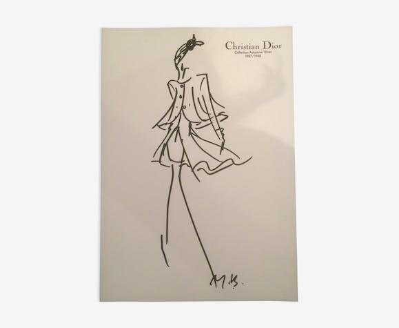 Illustration de mode  et photographie vintage de presse Christian Dior  fin des années 80