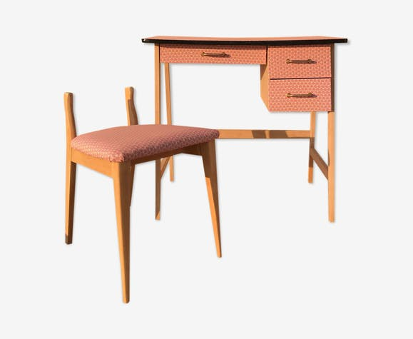 Bureau et chaise vintage pieds compas enfant