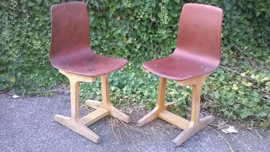 Paire de chaises vintage années 60 pagholz
