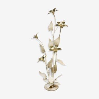 Lampadaire à fleurs en laiton au milieu du siècle Hollywood Style