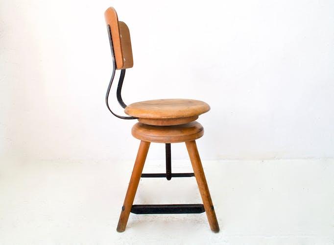 Chaise d'atelier industrielle années 1950