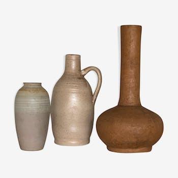 Lot de céramiques vintage couleur terre