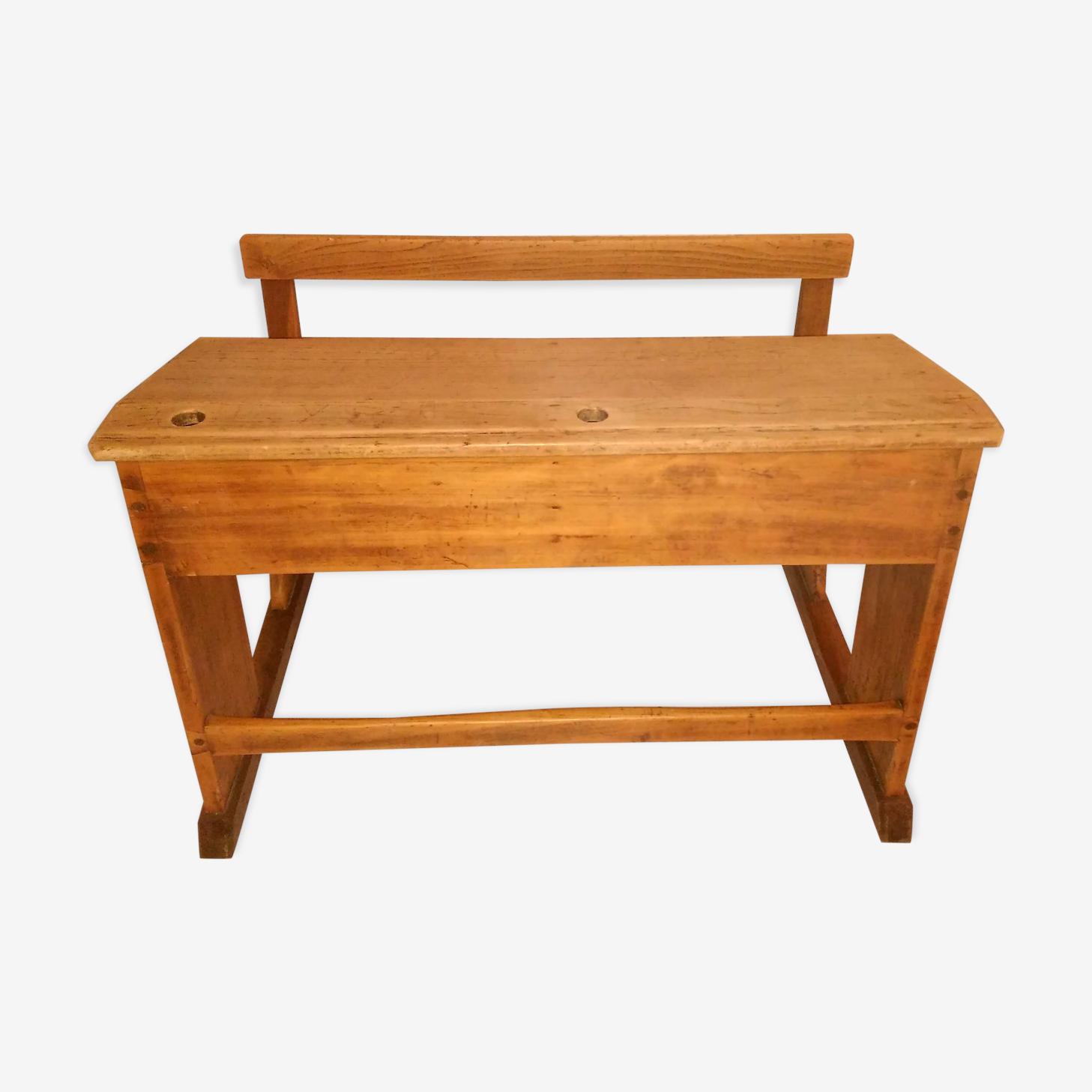 Pupitre double avec banc bois massif