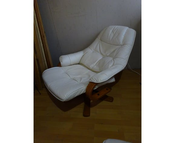 Recliner rocker and ottoman in white leather
