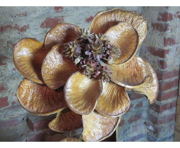 Lampe vintage en feuilles et fleurs de bananier séchées 70