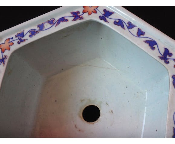 Ancien cache pot faience imari Japon vers 1900