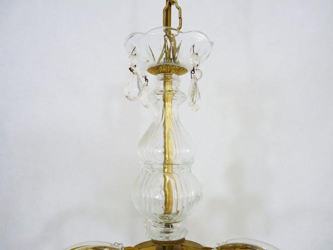 Ancien lustre,  Marie Thérèse à 3 feux à pampilles en verre, années 60