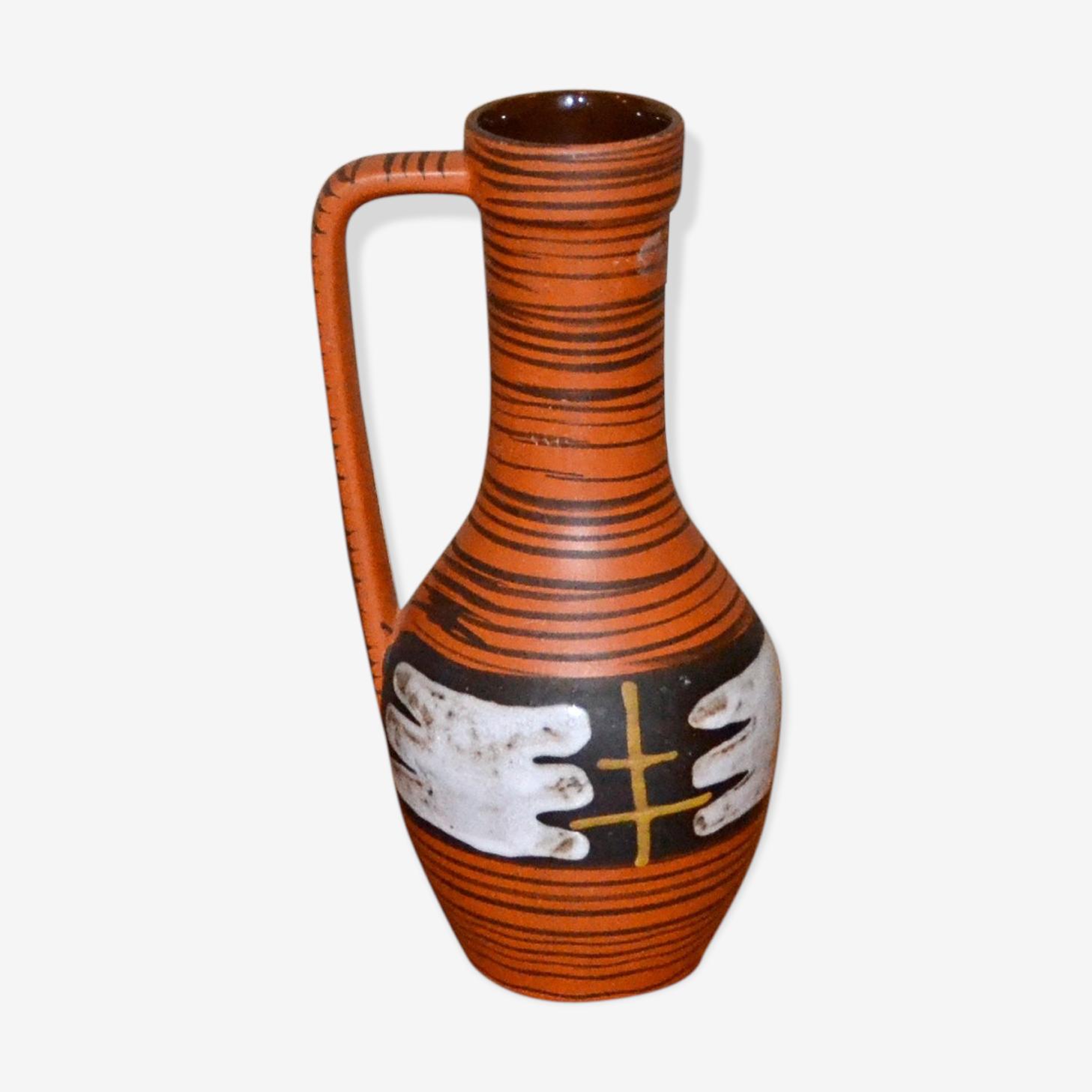 Vase céramique années 60 graphique