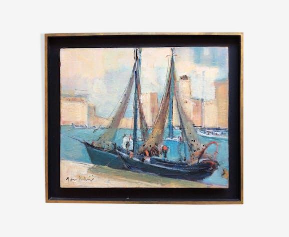 Tableau Marine, bateaux au port