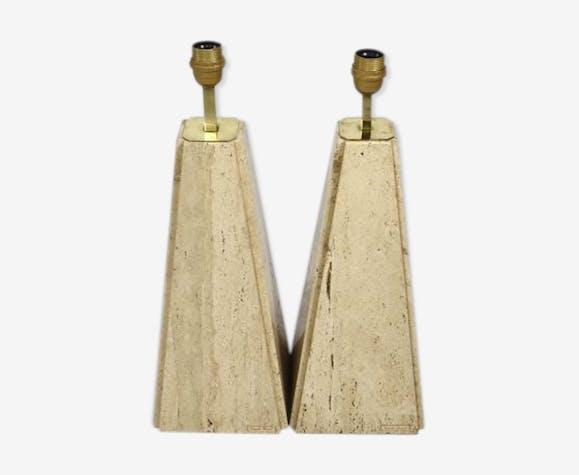 Paire de lampes de table en laverne et travertines Camille Breesch