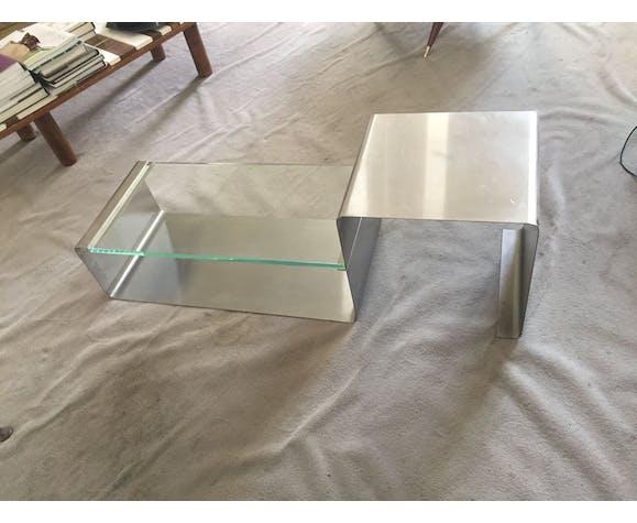 Table basse en inox et verre années 70