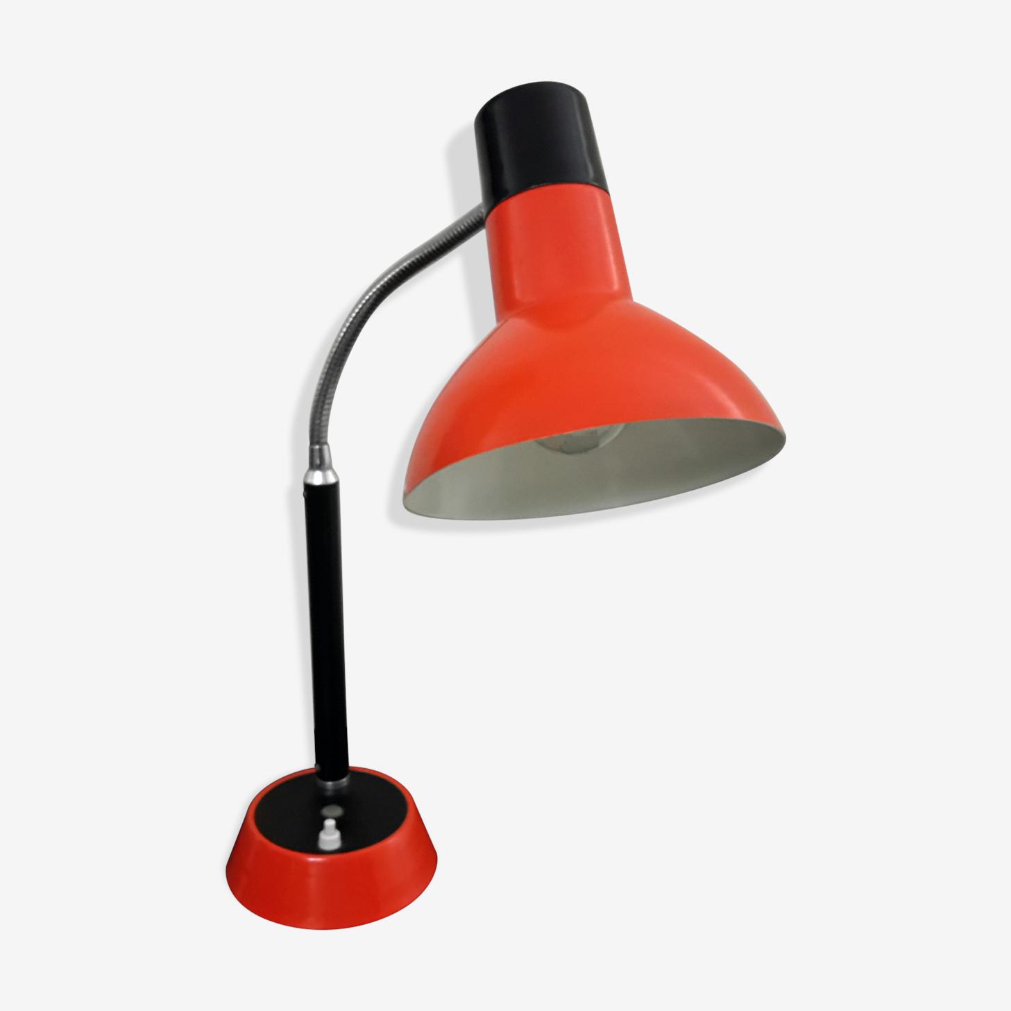 Lampe de bureau années 70 en métal orange