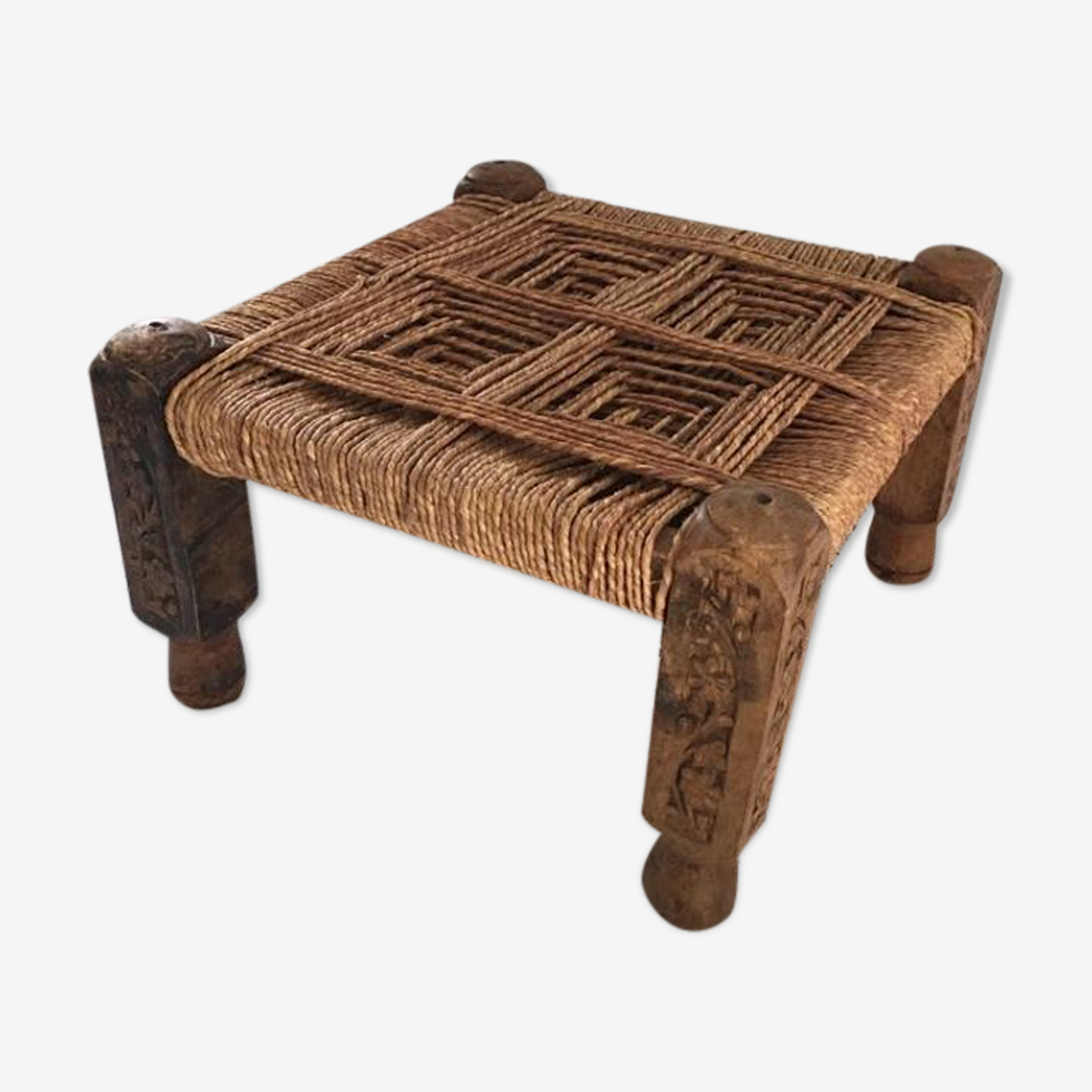 Stool in wood and rope ethnic style