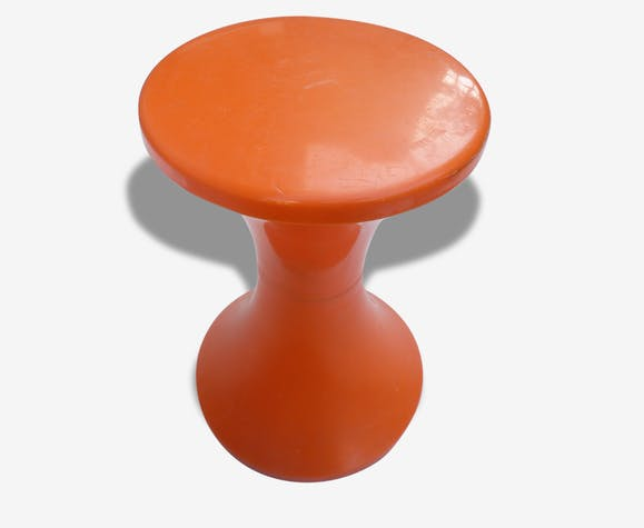 Tabouret Tamtam Orange Stamp 70s Plastique Orange Vintage