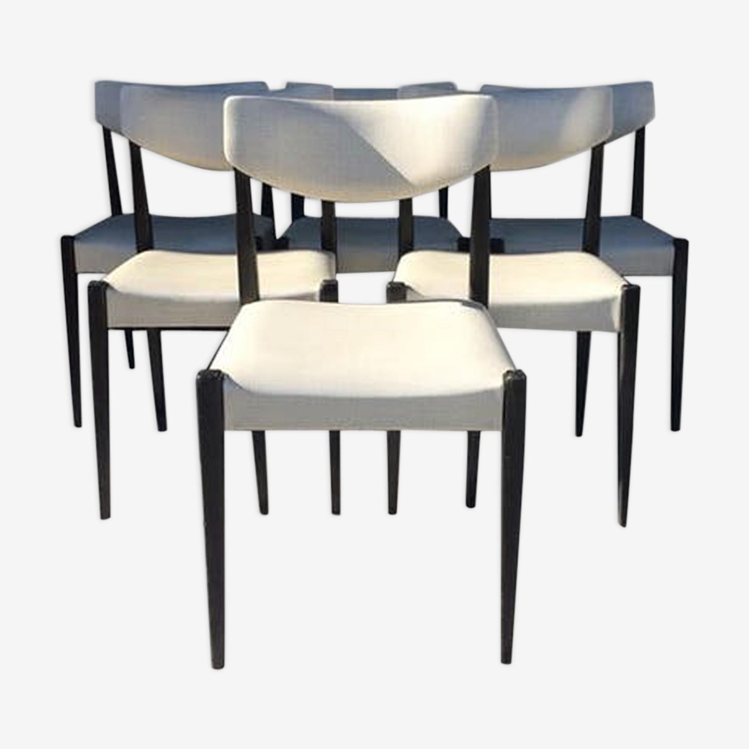 Set of 6 chairs ivory Skai 60's