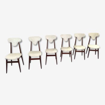 6 chairs in wood and synthetic fur design Italian 1950