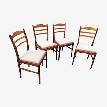 Lot de 4 chaises scandinaves en teck et tissus 1960