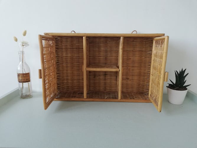 Small vintage rattan cabinet