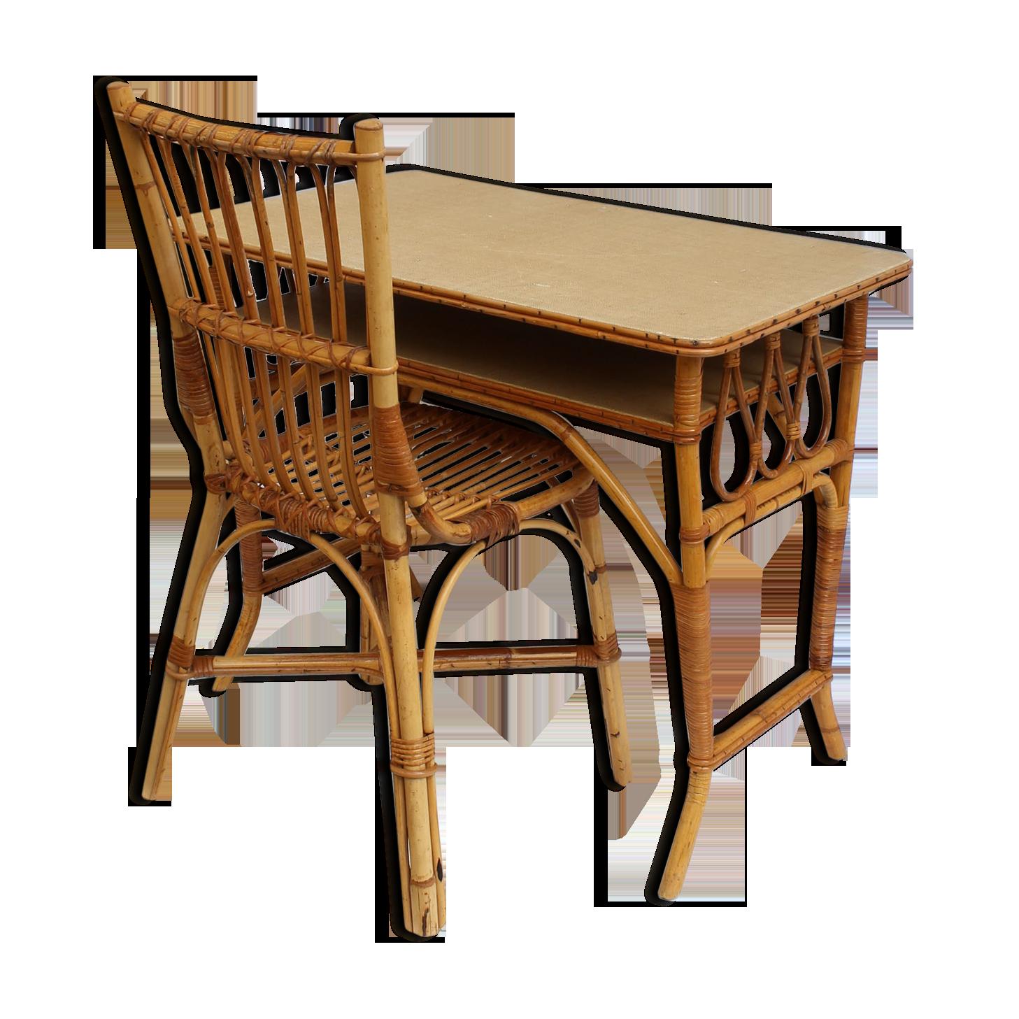 Bureau rotin avec sa chaise couleur brocante