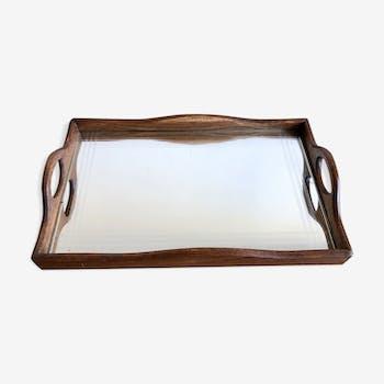 Plateau bois et miroir gravé