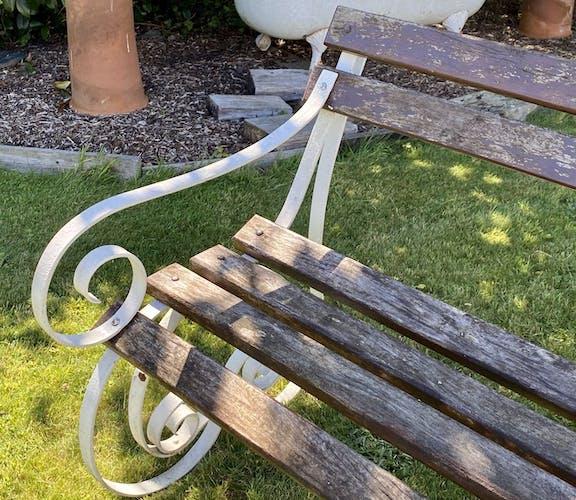 Banc de jardin anglais en fer forgé et bois du début XXème