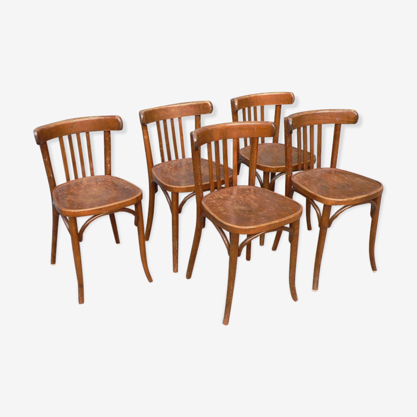 Série de 5 chaises bistrot bois
